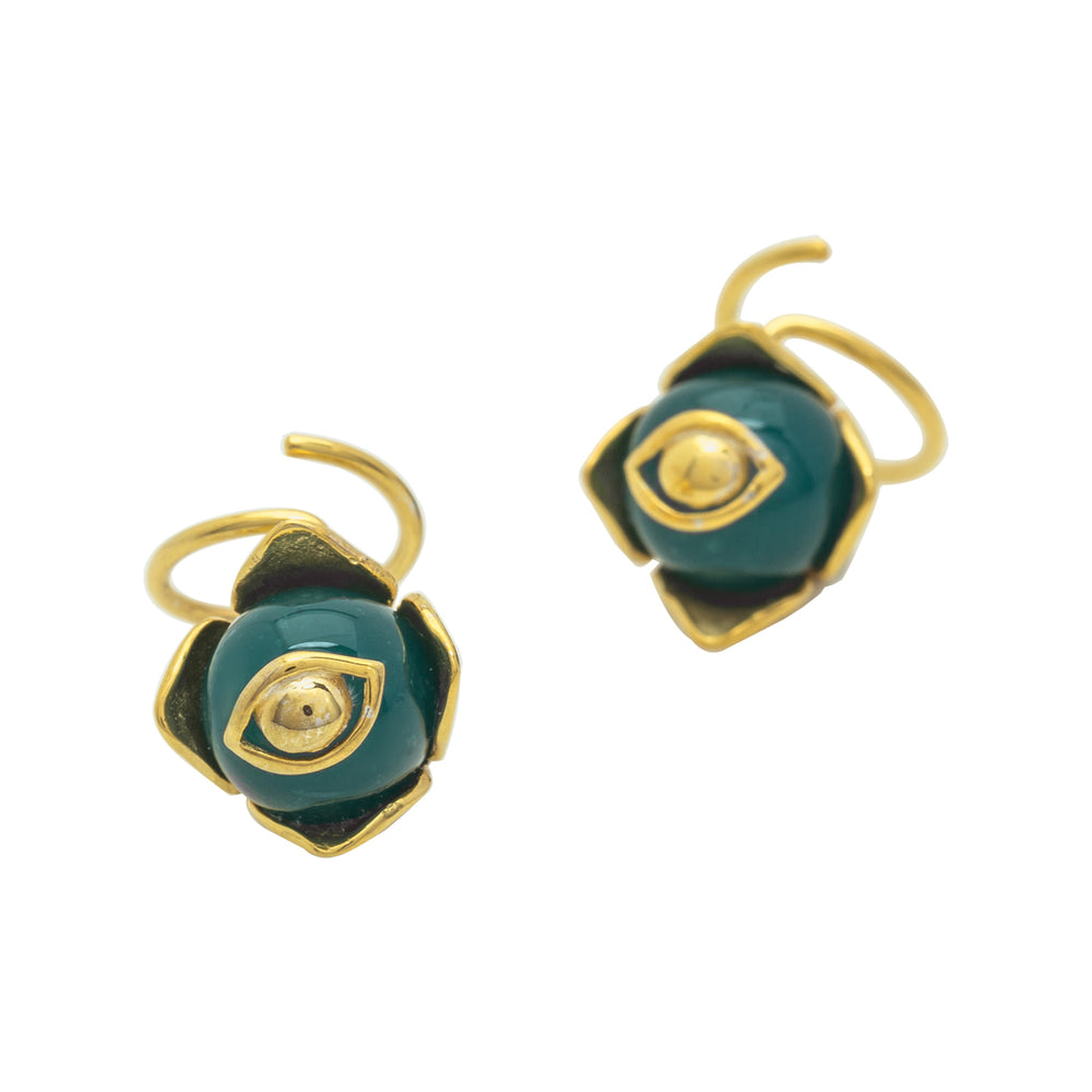 Twirl Agathe Earrings Gold/Green