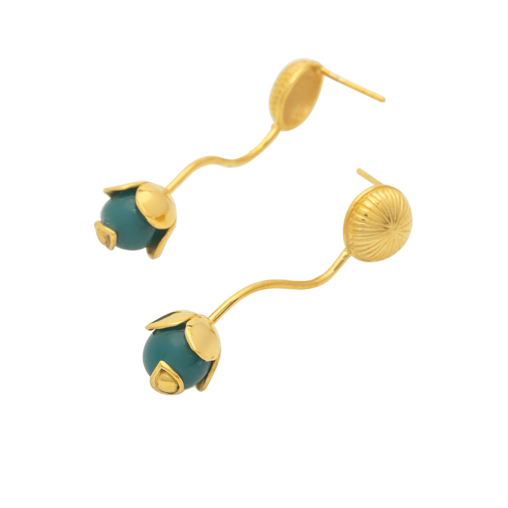 Load image into Gallery viewer, Full Agathe Earrings Gold/Green