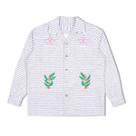 Plant Sashiko Loop Collar Shirt White