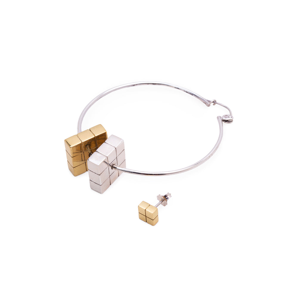 Rubix Asymmetric Earring Set Silver Gold