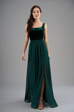 Velvet and Poly Chiffon Bridesmaid Dress