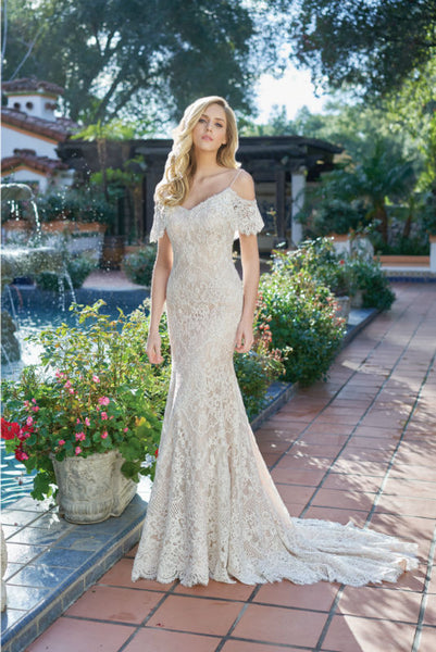 Ivory and Gold Vintage Lace A-Line