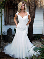 Ivory Tulle and Lace Fit and Flare