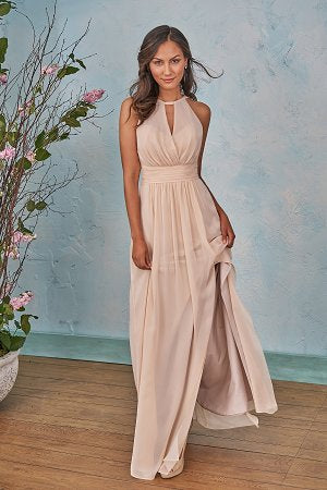 Poly Chiffon Halter Keyhole Bridesmaid Dress