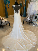 Ivory A-line Crepe with Lace Applique