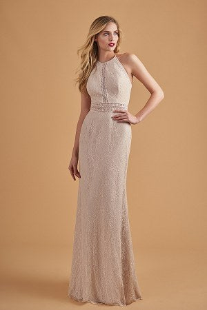 Sandstone Lace Halter Bridesmaid Dress