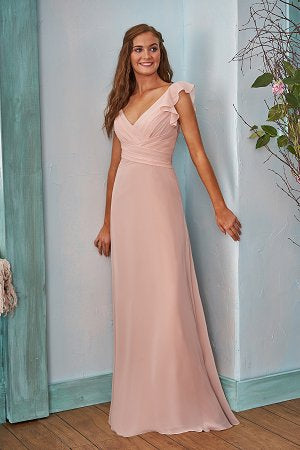 Poly Chiffon V-Neck Bridesmaid Dress