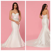 Ivory Satin Fit and Flare