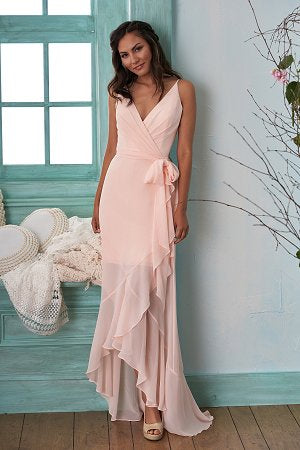Poly Chiffon Ruffle Detail Bridesmaid Dress