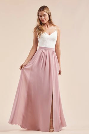 Two Piece Lace and Poly Chiffon Bridesmaid Dress