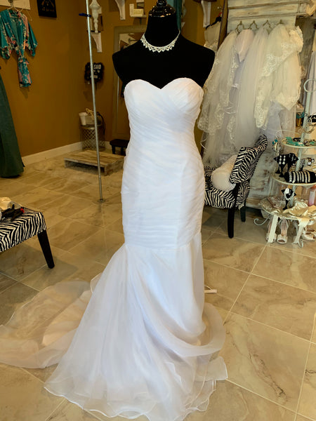 White Tulle Ruched Gown