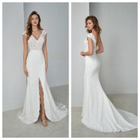 Ivory Lace A-line with Slit