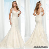 All Lace Ivory/Gold Mermaid Gown