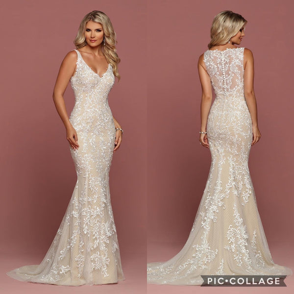 Tan with Ivory Lace A-line