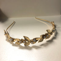 Gold and Pearl Floral Headband