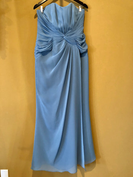 Dusty Blue Strapless Bridesmaid Dress