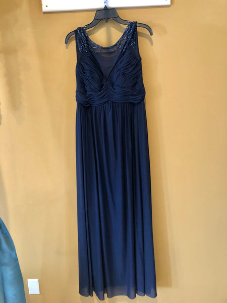 Navy Illusion with Beaded Accent Bridesmaid Dress