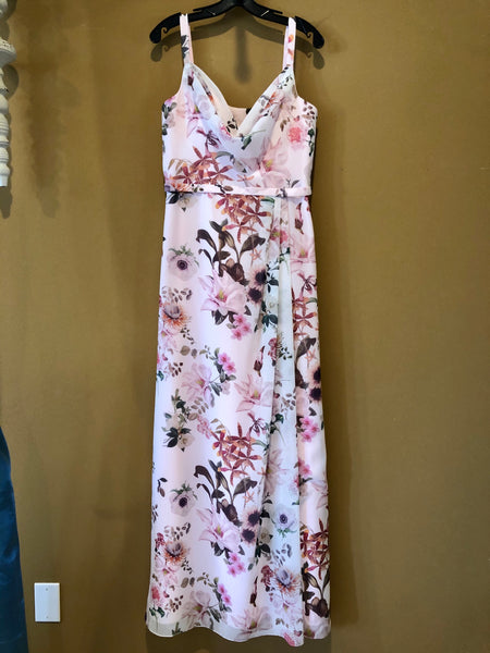 Swoop Neck Light Pink Floral Bridesmaid Dress
