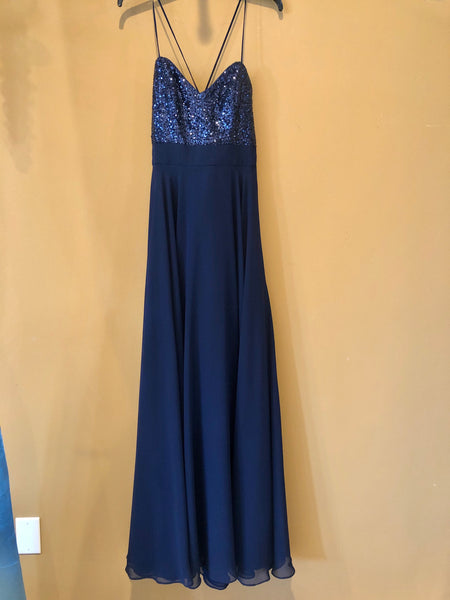 Navy Sequins and Poly Chiffon Bridesmaid Dress