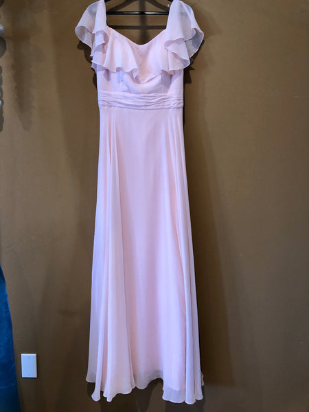 Light Pink Ruffle Off the Shoulder Bridesmaid Dress