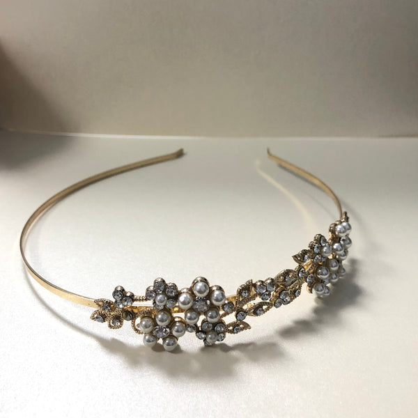 Gold and Pearl Cluster Headband