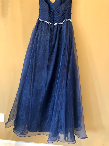 Navy Organza with Beaded Belt Bridesmaid Dress