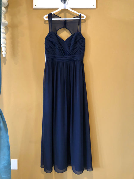 Navy Illusion Keyhole Back Bridesmaid Dress