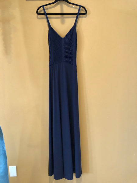 Navy Fitted Crepe Bridesmaid Dress