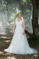 Ivory Tulle and Lace Applique A-line