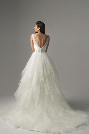 White Lace and Tulle Tissue Cut Ballgown