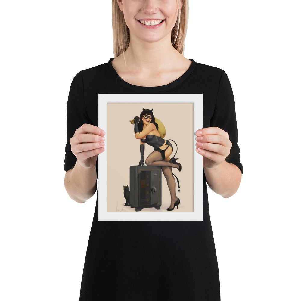Cat Burglar Caught in the Act - Framed poster