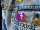 Storm Heart with Glitter Lightning Bolt Pin