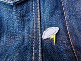 Storm Cloud with Glitter Lightning Bolt Pin