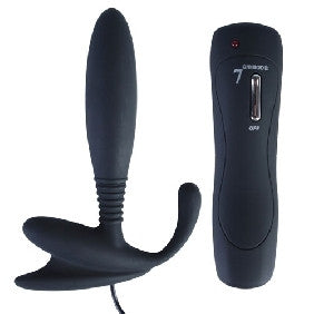 7 Speed Silicone Anal Vibrator Black