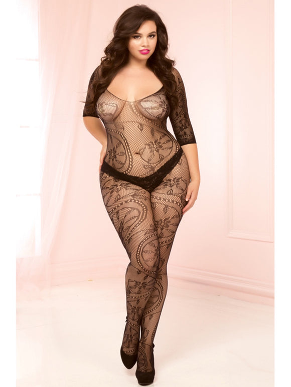 Swirl and Floral Lace Bodystocking 20421X Black Queen