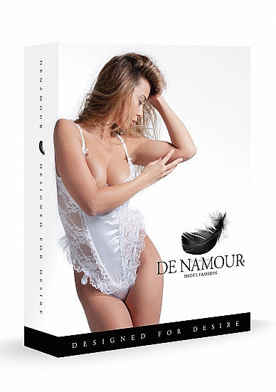 De Namour White Teddy Set with G String DEN012 L/XL