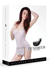 De Namour White Babydoll and G String DEN043 L/XL