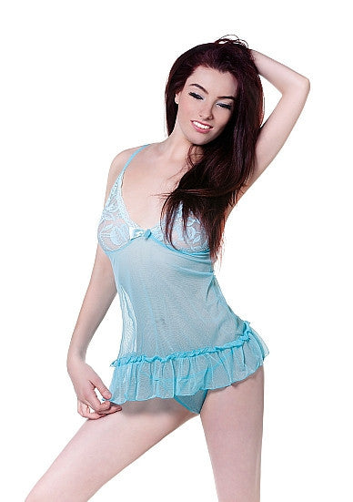 De Namour Blue Babydoll and G String DEN060 L/XL