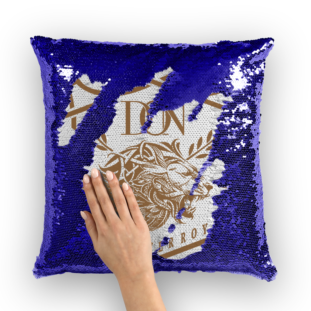 Midnight Blue Loyalty Over Royalty Sequin Cushion Cover