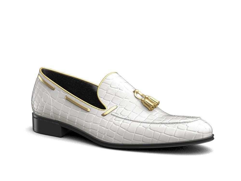 Romeo X Don Antelope Leather White And Gold Penny Loafers