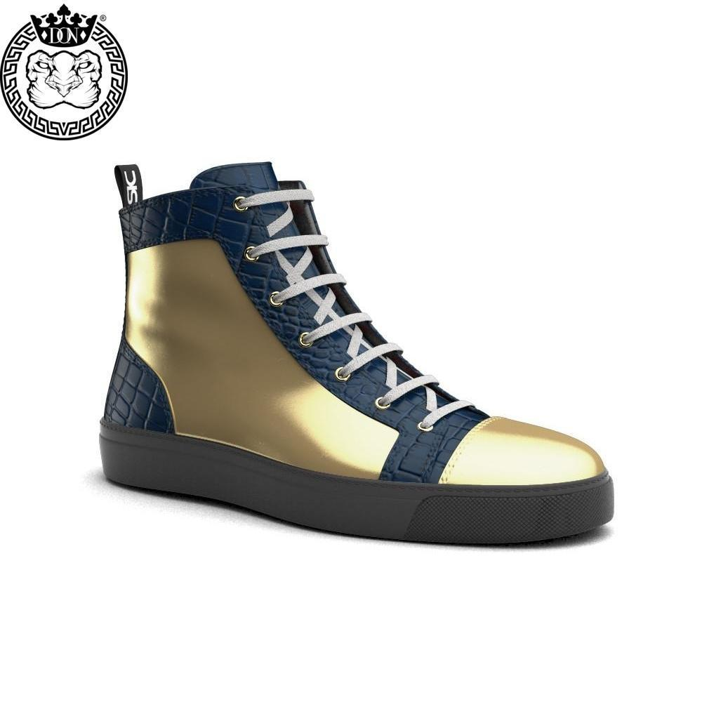 Gianmarco X Don Antelope Leather Blue & Gold High-Tops - Shoes