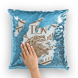 Cadet Blue Loyalty Over Royalty Sequin Cushion Cover
