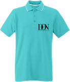 Mens Official Don Border Neck Polo-Shirt- Complex 2 - Light Turquoise / White / Navy / S - Homme>Polos