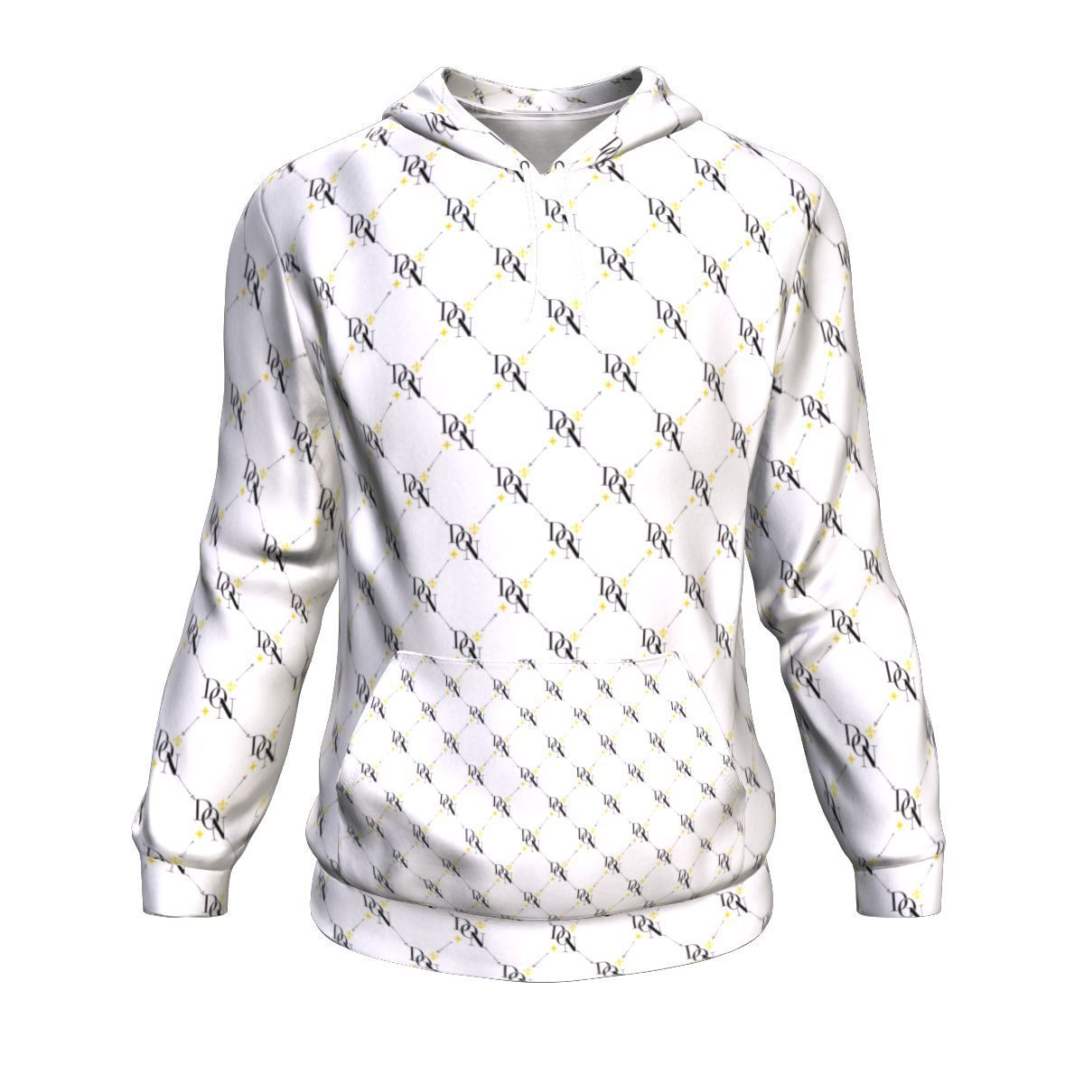 White Smoke Men's Official DON Signature Print White Hoodie