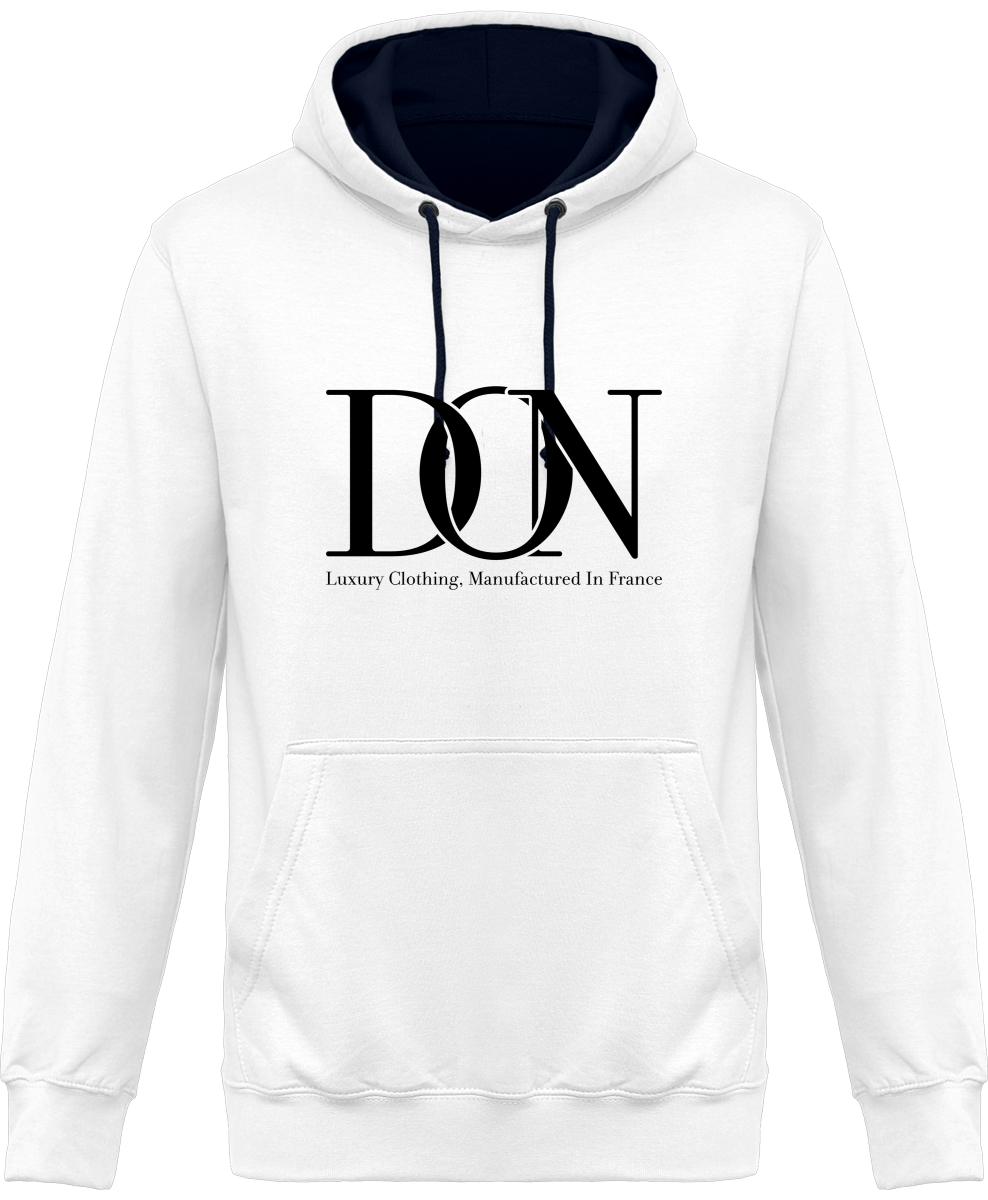 Mens Official Don Signature Two-Tone Hoodie - Arctic White / French Navy / S - Unisexe>Sweatshirts