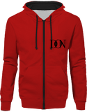 Official Don Signature Hoodie Two-Tone With Zip - Fire Red / Jet Black / S - Unisexe>Sweatshirts