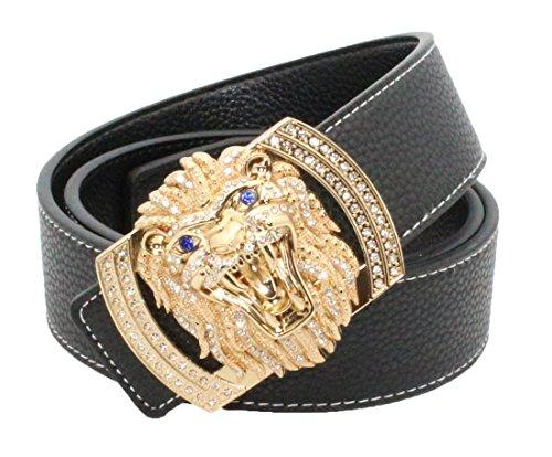Tan Lion Diamond Leather Belt