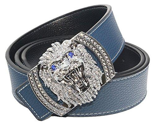 Dark Gray Lion Diamond Leather Belt