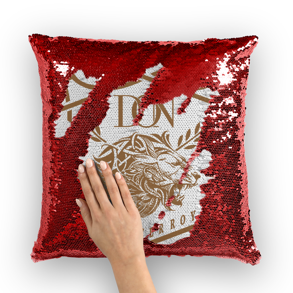Dark Red Loyalty Over Royalty Sequin Cushion Cover