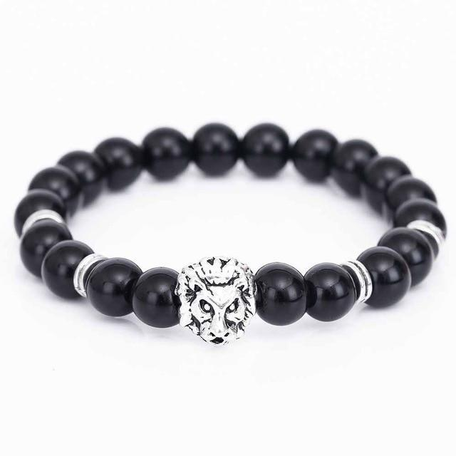 Dark Slate Gray Gold Buddha Lion Head Bracelet With Black Lava Stone